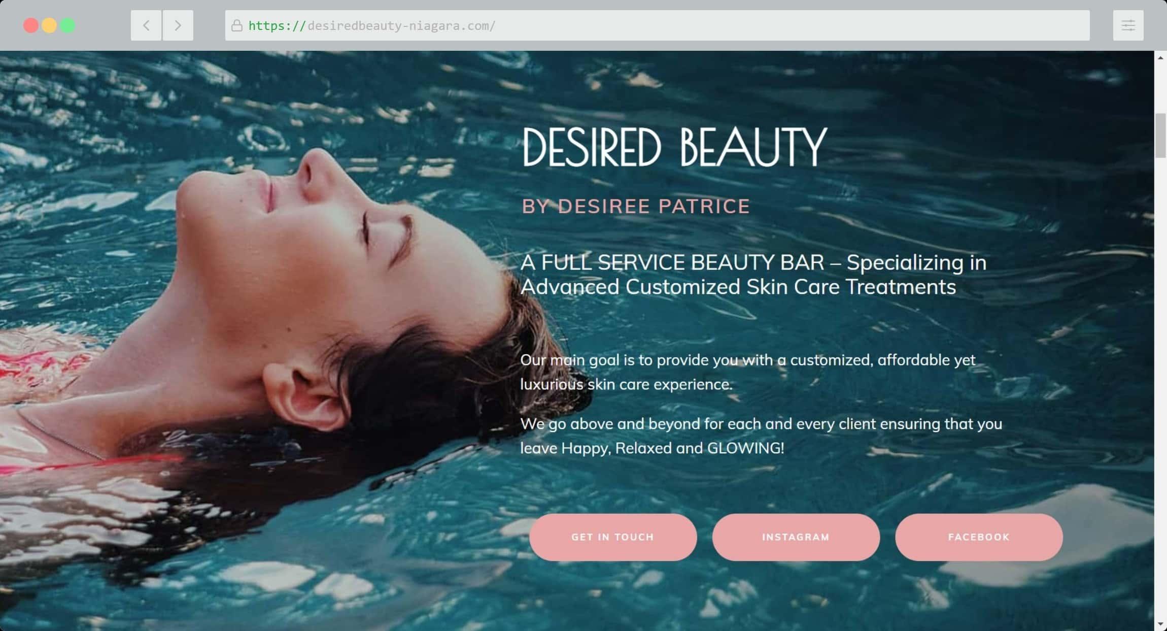 Desired Beauty Niagara Website