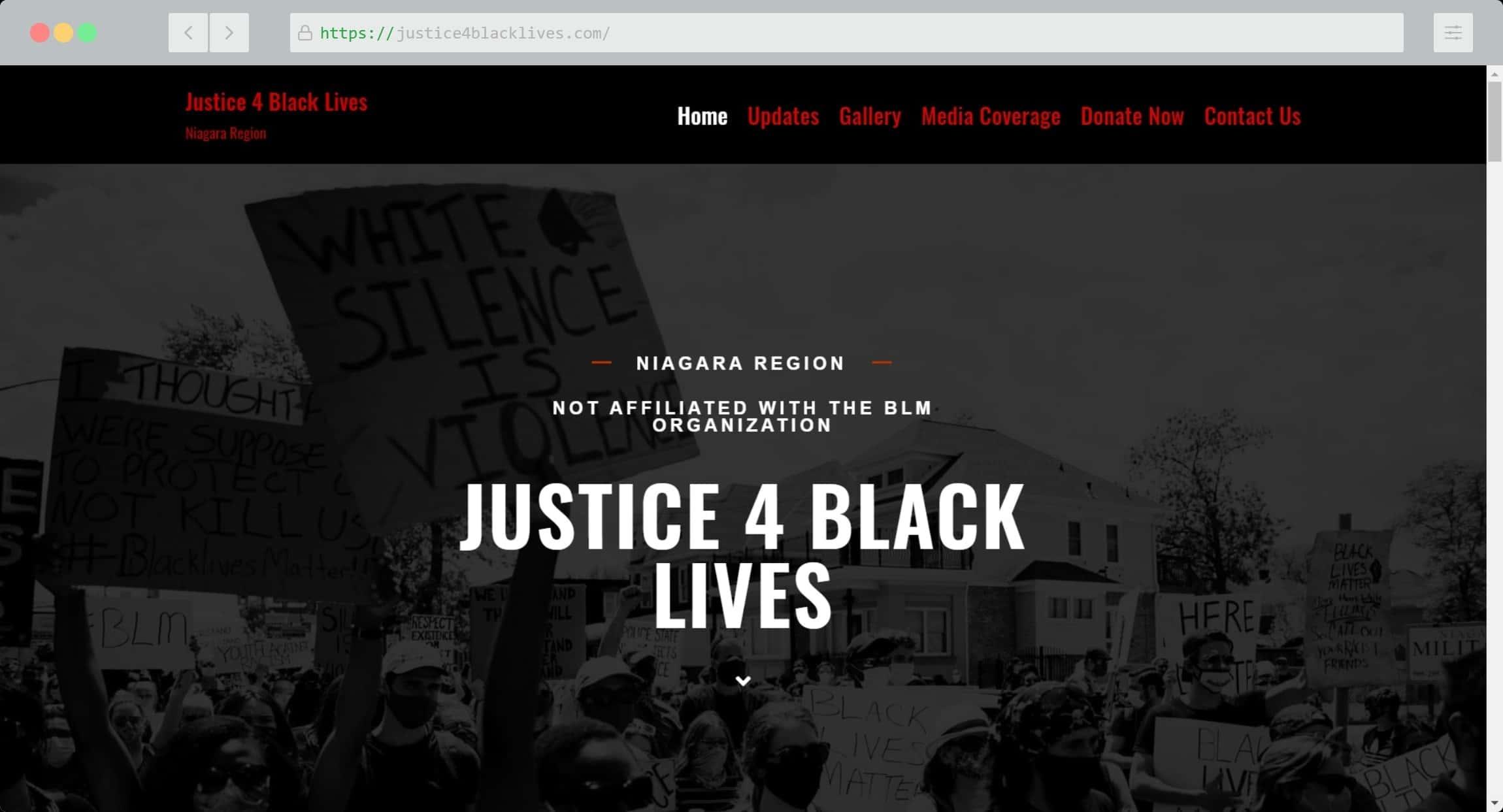 Justice 4 Black Lives Website